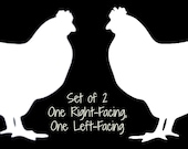 """Set of 2 CHICKEN Hen White Vinyl Car Window Sticker Decal Farm Fresh Eggs Daily 2"""" Left and Right Facing"""
