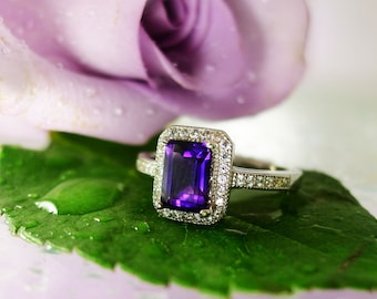 Amethyst Ring,  Amethyst Halo Ring, Purple Gemstone Ring, Amethyst Birthstone Jewelry, February Birthstone Ring