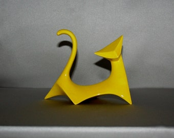 READY TO SHIP: Neon Yellow Modern Cat (Left cat) from 1960's vintage mold that my grandmother gave me