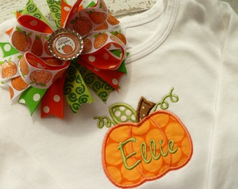 Personalized,  Halloween one piece bodysuit, or Halloween Shirt with Large Hair bow,  Pumpkin in modern orange dots