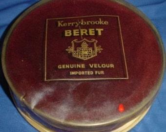 Exquisite Vintage Burgundy Velour Beret in Original Box
