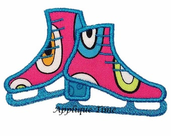 Instant Download Ice Skates Machine Embroidery Applique Design 4x4, 5x7 and 6x10