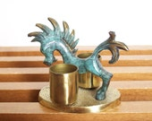 Vintage Brass and Verdigris Horse Candle Holder, Walter Bosse Style, Mid Century Modern