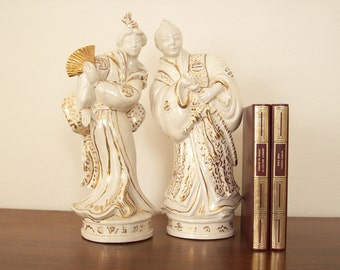 Blanc de Chine Statues, Pair, Gold Trimmed, Hollywood Regency, Vintage Chinoiserie