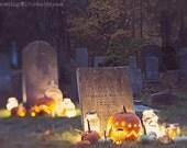 Halloween photography autumn fall spooky cemetery dusk bokeh pumpkins mason jar orange gold green fairy lights large wall art fine art photo