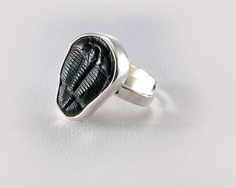 Handmade Sterling Big Trilobite Fossil ring adjustable size Unique Ring OOAK