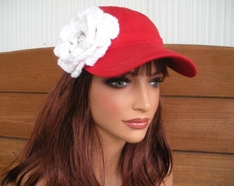 Womens Hat Baseball Hat Cap Summer Fashion Accessories Women Sport Hat in Red with White Crochet Flower by creationsbyellyn