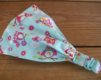 Girls Headband Fabric Headband Summer Accessories Girl Headwrap Bandana Summer Headband in Light blue with Pink Owls print