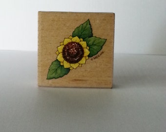 Sunflower Wooden Mounted Rubber Stamping Block DIY cards, scrapbooking, tags, Greeting Cards, and Scrapbooking