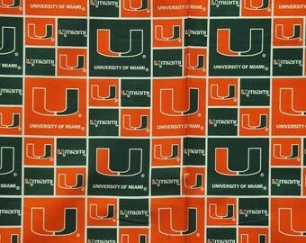 NCAA University of Miami 100% Cotton Fabric by the yard