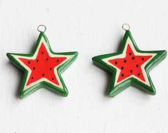 Watermelon Star Charm, Watermelon Charm, Food Charm, Star Charm, Wood Charm (2x)