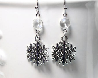 SALE...Snowflake Earrings Christmas Gift Women's Mom Girlfriend Sister