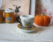 Scary Cat Tea Cup and Saucer for Dollhouse