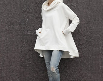 Lagenlook Hoodie Cape Style Top Fashionable Hooded Cotton Top in Cream for Women - NC370