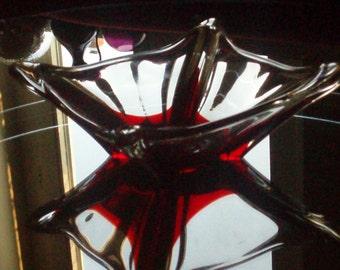 Murano Glass  Bowl - Red and White Glass - Mid Century  - Venetian Art Glass