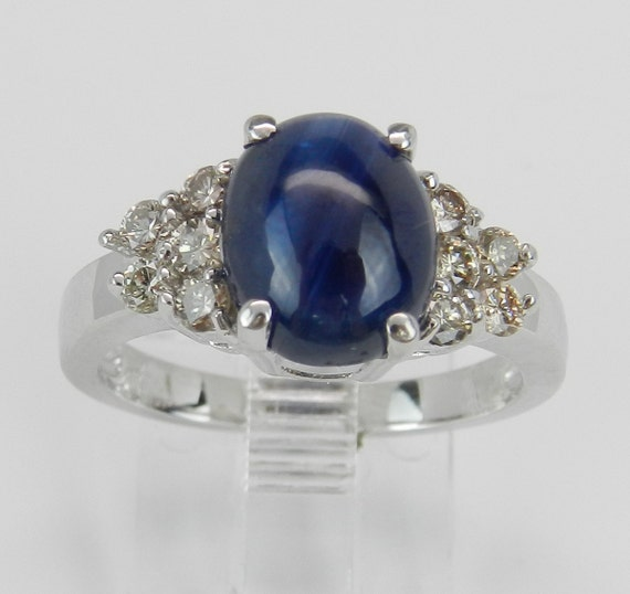 2.35 ct Diamond and Sapphire Engagement Ring Blue Oval 14K White Gold Size 6.75
