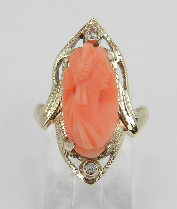 Coral Cameo and Diamond Ring Antique Ring Victorian Ring 10K Yellow Gold Size 4.5