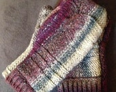 Up-Cycled Flannel Lined Cable Wool Mittens - Maroon/Burgundy  FREE SHIPPING
