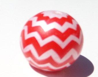 Red and White Chevron Striped Bubblegum Beads, 20mm Bubblegum beads, C58