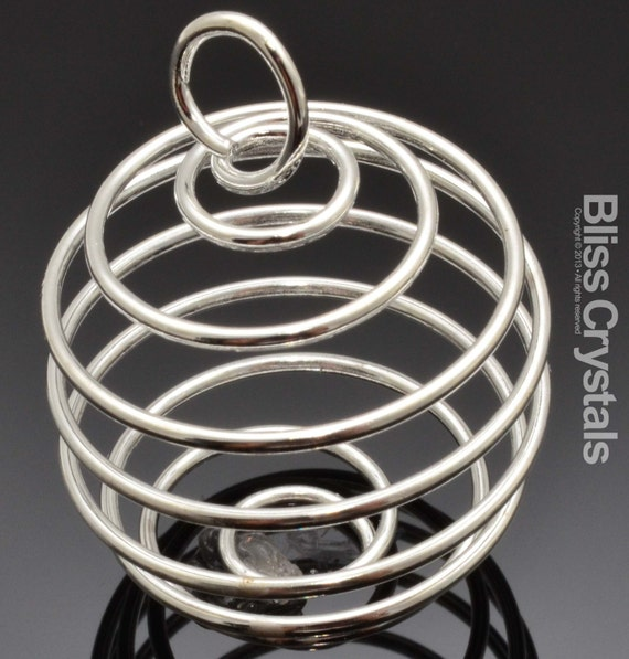 25 mm Spiral Cage Pendant for Crystals/ Tumble Stones - Silver Plated Large