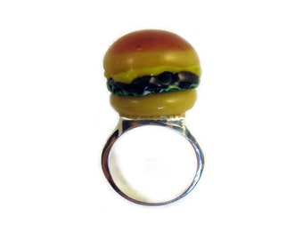 Burger Queen Ring - Statement Cheeseburger Cocktail Ring by Weirdly Cute