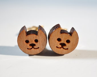 Cat Earrings on Surgical Steel or 14K Gold Filled Posts