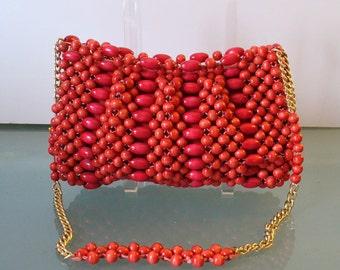 Vintage Tomato Red Wood Beaded Shoulder Bag