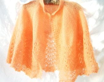 Crocheted Soft Fluffy Wrap Shawl ~ Vintage Cottage ~ Chic Vintage Sherbet ~ Romantic