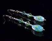 Green-Blue Earrings Dangling Earrings Green Earrings Blue Earrings Handmade Costume Jewelry Made in Montana Free Shipping Made in USA