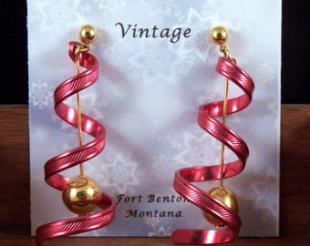 Vintage Avon Earrings - Red Pierced Avon Earrings - Red Dangling Earrings - Avon Costume Jewelry - Red Gold Spiral Earrings - Free Shipping