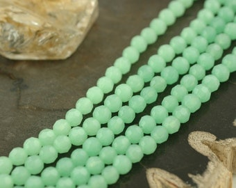 Pastel Green Catseye : 6mm Bohemian Czech-Glass Round Faceted Translucent Firepolish, 25 beads, Jewelry Making and Craft Supplies, CG166