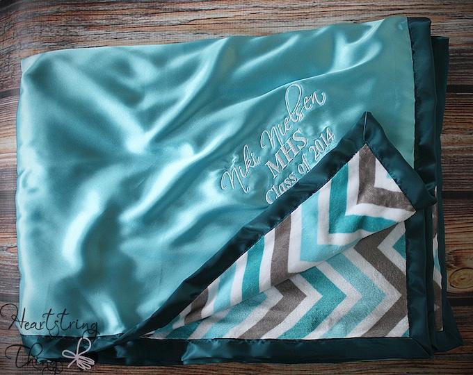 Minky blanket, embroidered blanket, personalized blanket, wedding gift, aqua blanket, satin and minky, personalized blanket, gift for women