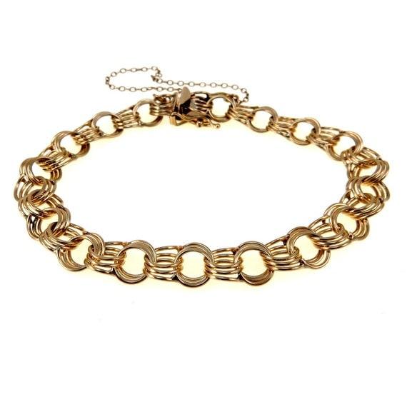 Starter Charm Bracelet: Vintage 14k Gold POM Triple Link 9 Mm Starter Charm Bracelet