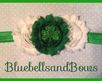 Shabby Chic-Infant/Newborn/Girls St. Patricks Day Triple flower headband w/ shamrock center