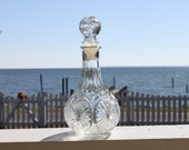 Beautiful, Rounded, Cut Glass Vintage Decanter Wine Whiskey Bourbon Lovely Barware Bar Cart Supplies
