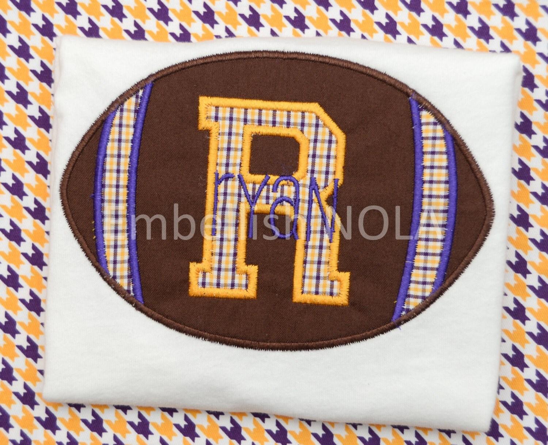 Football varsity letter applique shirt or bodysuit lsu for Varsity letter applique