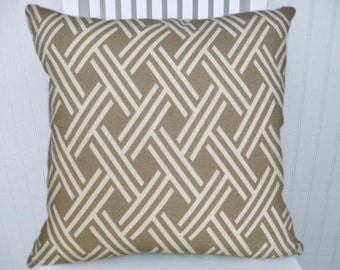 Grey Geometric  Pillow Cover- 18x18 or 20x20 or 22x22 Slubby Cotton Throw Pillow- Light Grey and White Accent Pillow Cover