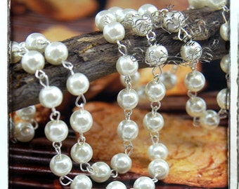 2 Feet 8mm Silver White Pearl Chain Linked Silver Brass Links Beaded Chain Vintage Acrylic Pearl Necklace Chain Round Pearl Silver Chain CP