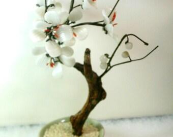 Glass Faux Flowering Bonsai Tree Celadon Pot - Chinese 1980's