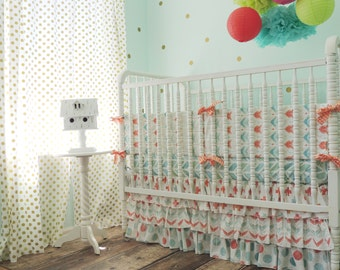 Boutique Cribset in Aqua, Coral, and Gold with Arrows, Herringbone, Dots, and Crosses