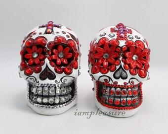 Skull Mexican white day of dead weddings cake topper handmade bride and groom