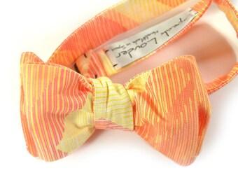 Orange and yellow self-tie Wedding Mens Bow Tie -orange chevron bowtie