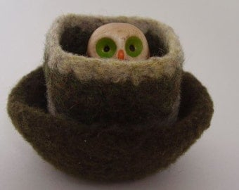 felted wool bowls set of two wee containers desktop storage jewelry holder forest green and oatmeal