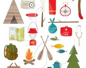 Camping Camp Items Clip Art Clipart Set - Commercial and Personal use