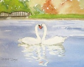Original Watercolor Painting of Swans on Lake-- Arch of necks form a heart