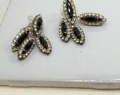 Pierced Earrings Vintage marquise Flower Rhinestones Black plus Clear