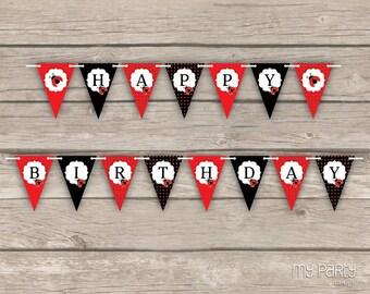Ladybug Party - Happy Birthday Banner - INSTANT DOWNLOAD - Printable PDF