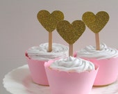 Gold Glitter and Pink Cupcake Picks and Wrappers - Baby Shower - New Baby Girl - Christening x 12