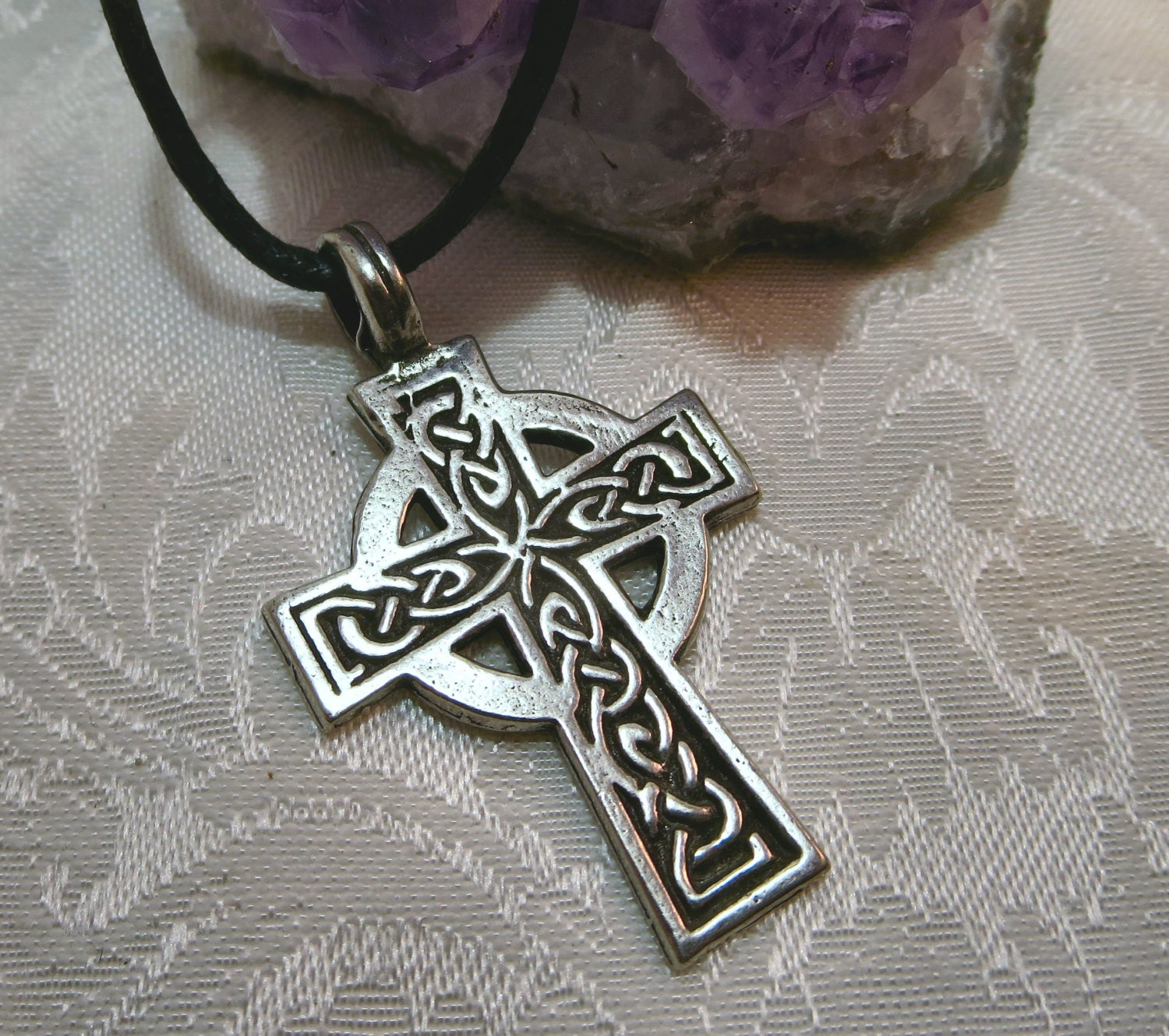 pewter celtic cross necklace irish cross knot work pendant. Black Bedroom Furniture Sets. Home Design Ideas