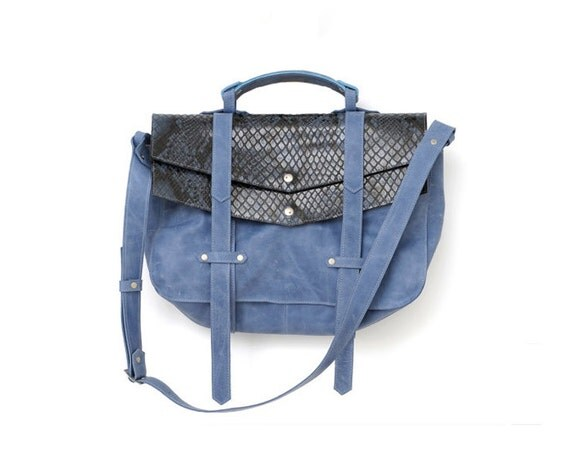 S-A-L-E 40% off, ONLY 234usd ,INSTEAD OF 390usd, Leather Briefcase for Women, Blue Messenger Handbag